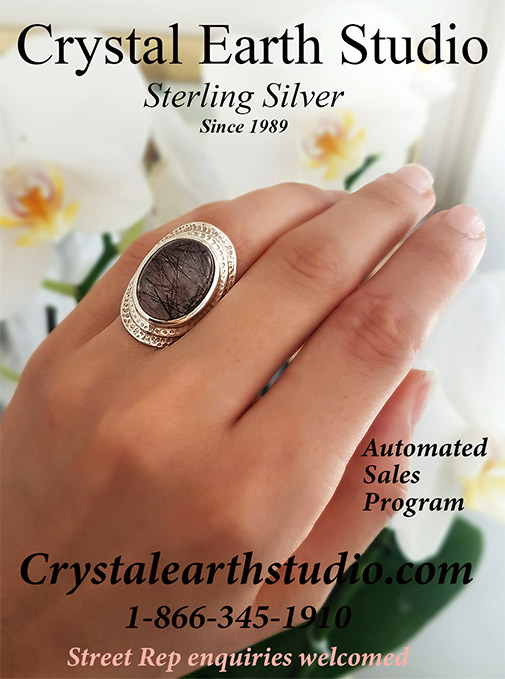 Gorgeous Sterling Silver Wholesale Metaphysical Gallery Ring with Black Rutile